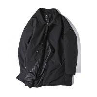 时尚新款潮牌大码男装胖子肥佬冬季加肥加大宽松中长款翻领羽绒服 黑色