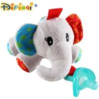 安睡型安抚奶嘴全硅胶新生儿婴儿毛绒动物玩具宝宝0-6-18个月 米白色 丝带彩象 新款