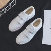 魔术贴小白鞋女2018冬季韩版皮面板鞋百搭二棉鞋平底加绒白鞋