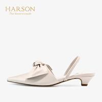 【 立减120】哈森 2019夏季新款羊皮革女鞋 中后空平HM96412