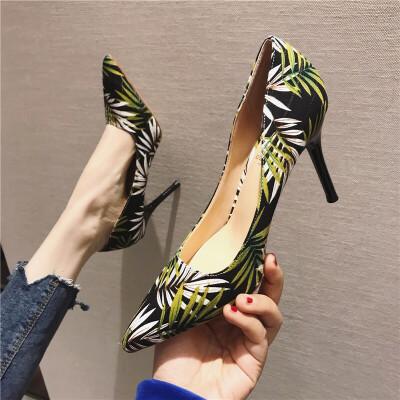 高跟鞋女2019春季新款时尚尖头浅口细跟高跟单鞋拼色花纹气质单鞋