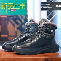 新品上市冬季男士真皮棉靴保暖加绒雪地靴男皮毛一体韩版潮流运动高帮皮鞋 黑色