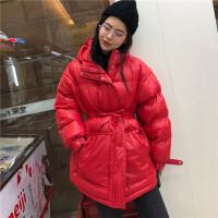 2019秋冬新款韩版女时尚女装宽松加厚中长款面包棉衣外套配腰带 均码