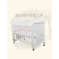 法国婴儿床多功能儿童床可拼接大床实木进口松木宝宝床 珍珠白 120*65cm