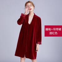 睡袍女秋冬加厚长款睡衣春秋性感吊带睡裙两件套红色结婚新娘晨袍