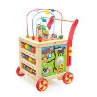 婴儿学步车手推车宝宝多功能助步车可调速7-24个月木制玩具