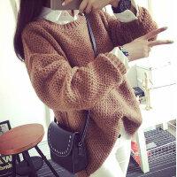 2015粗线宽松纯色女士韩版大码女装宽松打底中长款毛衣套头