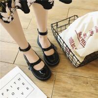 韩版新款粗跟绑带中跟单鞋女学生森女小皮鞋圆头豆豆鞋女 黑色