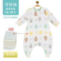 婴儿睡袋春秋薄款六层分腿纱布四季儿童防踢被宝宝春夏季通用