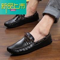 新品上市真皮豆豆鞋男痘痘懒人鞋韩版男士休闲商务皮鞋一脚蹬男鞋套脚软底