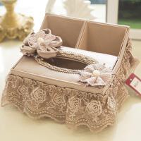 玉兰春欧式创意纸巾盒布艺 欧式客厅抽纸盒 蕾丝茶几桌面餐巾盒