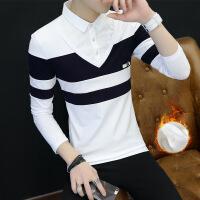 【秋冬新品】高档专柜品牌秋冬季男士长袖t恤韩版加绒加厚男装衬衫领上衣服有领打底衫潮流