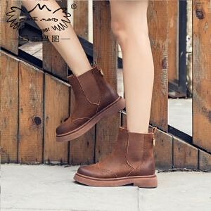 玛菲玛图平底靴子女2019新款短筒圆头牛皮切尔西靴英伦布洛克雕花帅气短靴5531-13W