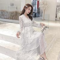 复古波点雪纺很仙的法国小众连衣裙沙滩长裙超仙女chic温柔韩版女