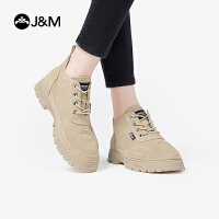 【爆款潮靴】JM快乐玛丽2019秋季新款厚底百搭英伦风高帮工装靴马丁靴爆款