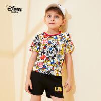 迪士尼童装儿童宝宝男童米奇短袖短裤T恤套装2020春夏新款两件套
