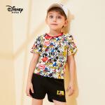 【2件3折价:58.2】迪士尼童装儿童宝宝男童米奇短袖短裤T恤套装2020春夏新款两件套