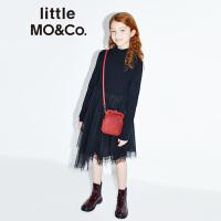 littlemoco秋季新品女童连衣裙公主裙女童 蓬蓬纱拼接羊毛连衣裙