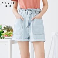 森马牛仔短裤2021夏季新款高腰宽松直筒甜美多搭花苞裤纸袋裤ins