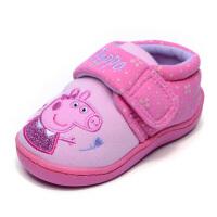 原单冬女儿童棉拖鞋宝宝包跟防滑保暖软底卡通卧室内居家地板鞋 粉红色 佩琪