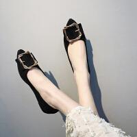 女鞋春季新款浅口尖头平底单鞋时尚韩版百搭学生一脚蹬软底瓢鞋潮