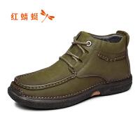 红蜻蜓男鞋冬季潮流时尚户外短靴休闲舒适加绒男棉鞋保暖