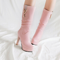 BANGDE2018新品甜美高跟中筒靴骑士靴女中靴女靴子高筒靴秋季粗跟女鞋