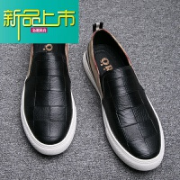 新品上市香港购新款男鞋休闲鞋格子板鞋韩版潮鞋内增高鞋真皮套脚鞋