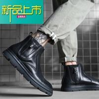 新品上市18冬季马丁靴男靴子真皮加绒百搭英伦风中帮高帮皮鞋潮流短靴