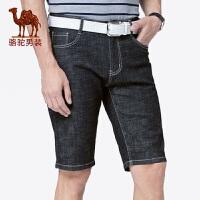 骆驼男装 2019夏季新款牛仔短裤男士中腰直筒黑牛仔五分裤短裤潮