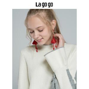 【清仓3折价149.7】Lagogo/拉谷谷2019新款文艺时尚慵懒风针织衫女HCMM43YM28