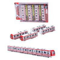 合金地铁高铁和谐号动车模型磁性小火车头带轨道男孩儿童玩具 红棕色 117红