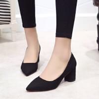 正装浅口高跟鞋中跟5厘米绒面黑色工作鞋职业尖头显瘦百搭单鞋女