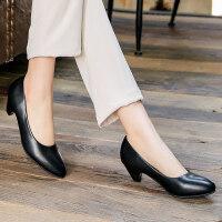 大码职业正装高跟鞋工作鞋女黑色舒适粗跟软底空姐面试礼仪鞋