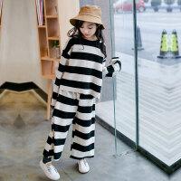 儿童套装 女童新款秋款韩版套装2020秋季时尚宽松儿童运动装宽条卫衣阔腿裤两件套