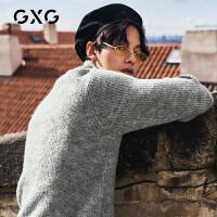 GXG男装 冬季热卖韩版保暖修身灰色高领打底针织毛衫复古毛衣