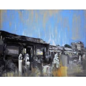 刘佳腾 当代青年油画家 《冯国璋故居》木板油画 40x50cm
