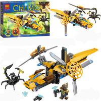 10074气功传奇 青目狮的双桨直升机拼装积木男孩玩具