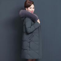 19新款妈妈冬装外套中长款中老年棉衣女加厚毛领洋气棉袄