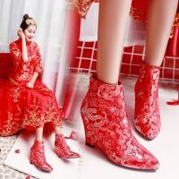 婚鞋女2018冬季新品新娘鞋中式秀禾鞋红色内增高敬酒鞋 红色