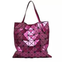 春夏新款镭射包几何菱格单肩时尚拼接折叠炫彩大包手提女包潮