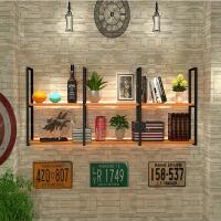墙上置物架墙壁挂式客厅一字隔板书架 前台壁挂铁艺实木层板收纳置物