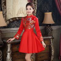 敬酒服冬季新娘旗袍2018新款修身短款红色加厚中式结婚礼服秋冬款