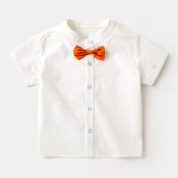 夏季儿童白色短袖衬衫男童蝴蝶结圆领衬衣上衣