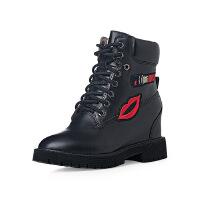 爱旅儿复古女鞋帅气火焰嘴唇内增高短靴EA60206