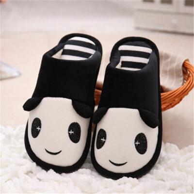 亲子熊猫情侣冬季家居棉拖鞋居家室内地板棉鞋男女士月子
