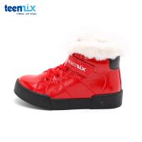 【99元任选2双】天美意teenmix童鞋18新款儿童运动鞋绒面保暖靴子男女童时尚短靴(5-10岁可选)DX0253