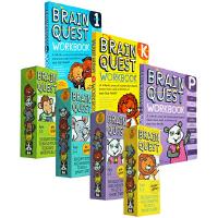 (300减100)英文原版大脑任务 Brain Quest Workbook 练习册3册+4盒装卡片 少儿儿童智力问答开发 幼儿园入门级全套 美国学前全科训练