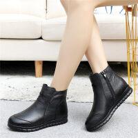 ����鞋女冬季加�q保暖羊毛平底中老年皮鞋中年女鞋