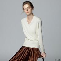 气质领羊绒衫女18秋冬新款宽松纯色毛衣针织衫纯羊绒短款交叉领